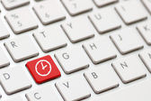 Computer keyboard with Clock — Stock Photo