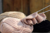 Knitting and wool — Stock Photo