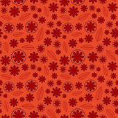 Red Floral Seamless Pattern — Stock Vector