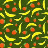 Nahtlose textur mit bananen und erdbeeren — Stockvektor