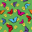 Flowers and Butterflies Seamless Pattern - Grafika wektorowa