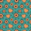 Flowers and Hearts Seamless Pattern — Stock Vector
