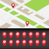 Map with navigation icons — Stockvektor