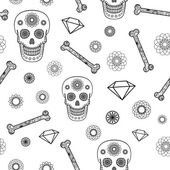 Seamless Pattern with Skull — Stock Vector