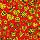 Hearts and Birds Seamless Pattern — ストックベクタ