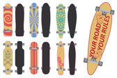 Skateboards and Longboards — Stock Vector