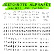 Sketchnote alphabet — Stock Vector