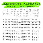 Sketchnote alphabet — Stock Vector