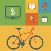 Business icons and bicycle — Stock Vector