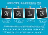 Sale background with hanging images — Stock Vector