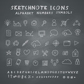 Vector Doodle Icons on Blackboard — Stockvector