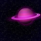 Cartoon Saturn in open space — Stock Vector