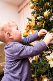 Boy decorates the Christmas tree — Stock Photo