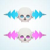 Music breaks the skull — Stock Vector