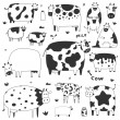 Set of funny cows — Stock Vector