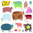 Set of funny cows — Stock Vector #30619739