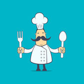 Chef in various poses — 图库矢量图片