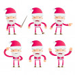 Santa in various poses — Stock Vector