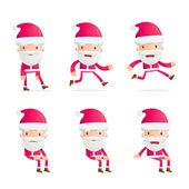 Santa in various poses — Stock Vector