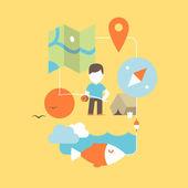 Conceptual illustration of fishing — 图库矢量图片
