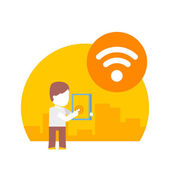 Man uses wi fi on his tablet — Stock Vector