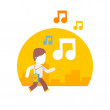 Man listening to music while traveling on city streets — Stock Vector