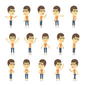 Urban character set in different poses. simple flat design. — Stock Vector