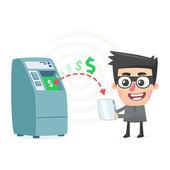 Theft money using modern technology — Stock Vector