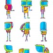 Set of funny robots — Stock Vector #46383463