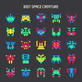 Set of 8-bit color space monsters — Stock Vector