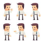 Zestaw znaków menedżera w różnych pozach — Wektor stockowy