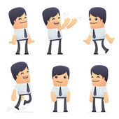 Set of businessman character in different poses — Stock Vector