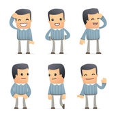 Set of customer character in different poses — Stock Vector