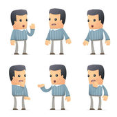 Set of customer character in different poses — Vector de stock