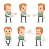 Set of neighbor character in different poses — Stock Vector