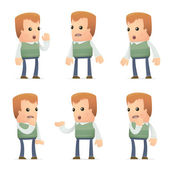 Set of neighbor character in different poses — Vector de stock