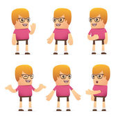 Set of dude character in different poses — Stock Vector