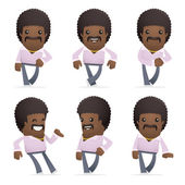 Set of disco man character in different poses — Stock Vector