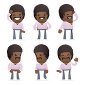 Set of disco man character in different poses — Vector de stock