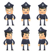 Set of policeman character in different poses — 图库矢量图片