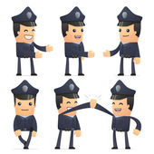 Set of policeman character in different poses — Stok Vektör