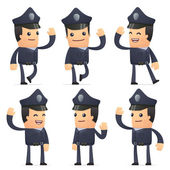 Set of policeman character in different poses — ストックベクタ