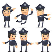 Set of policeman character in different poses — Stock Vector
