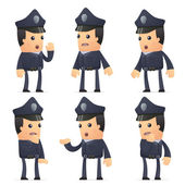 Zestaw znaków policjanta w różnych pozach — Wektor stockowy