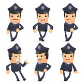 Set of policeman character in different poses — Cтоковый вектор