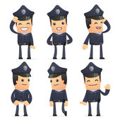 Set of policeman character in different poses — Wektor stockowy