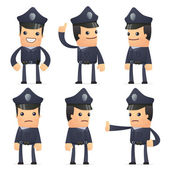 Set of policeman character in different poses — Vector de stock