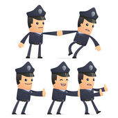 Set of policeman character in different poses — Vecteur