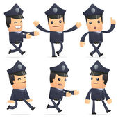Set of policeman character in different poses — Vettoriale Stock