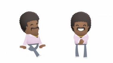 Joyful dancer character is running and dancing — Stock Video